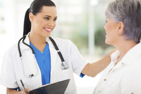 woman speaking with a doctor